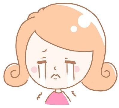 買い物に失敗して泣いている女性