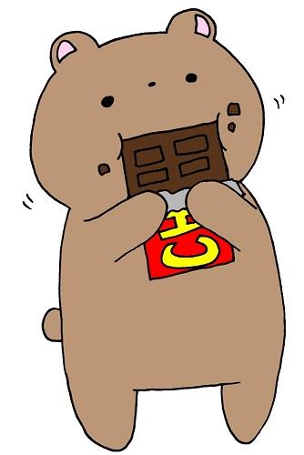 チョコレートを食べているクマ