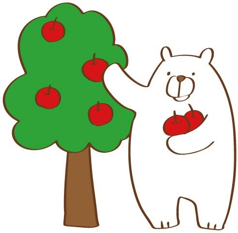 リンゴを収穫するシロクマ